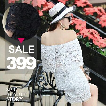 SISI【D6152】優雅性感睫毛蕾絲露肩一字領縮腰修身包臀短裙平口連身裙洋裝