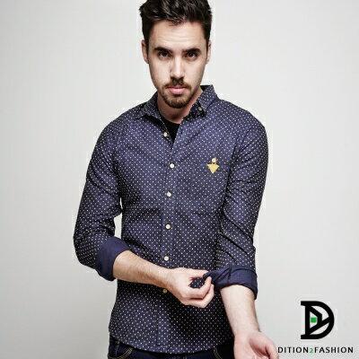 DITION 紳士休閒DOT滿版點點三角皮革長袖襯衫 1