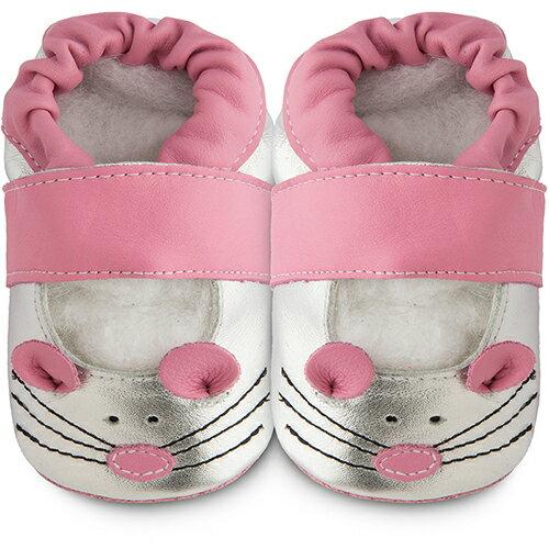 【hella 媽咪寶貝】英國 shooshoos 健康無毒真皮手工鞋/學步鞋/嬰兒鞋 銀貓咪的臉 102793(公司貨)