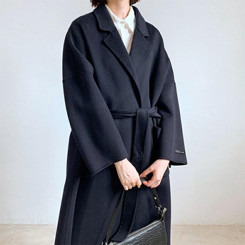 毛呢大衣羊毛外套-藍色綁帶寬鬆長版女外套73wb37【獨家進口】【米蘭精品】 1