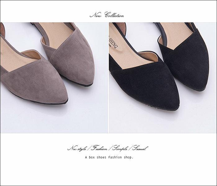 【KD3366】MIT台灣製 時尚簡單質感素面絨布 側面性感簍空 平底尖頭包鞋 娃娃鞋 3色 2