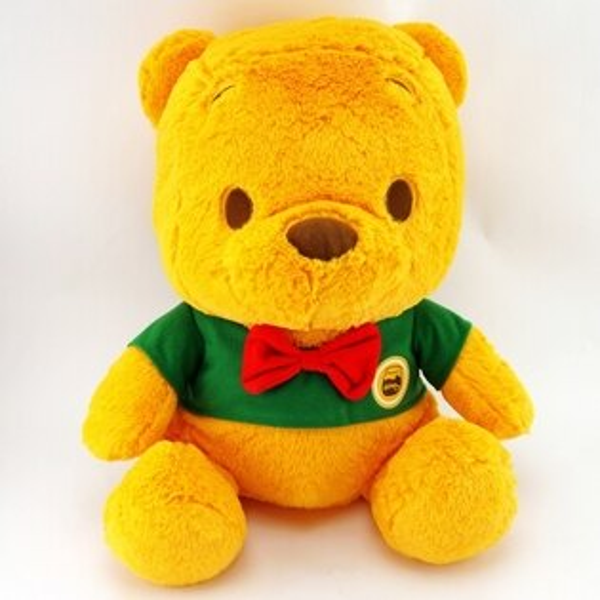 【UNIPRO】綠衣紅領結小熊維尼WinniethePooh40公分坐姿絨毛玩偶娃娃畢業生日禮物迪士尼正版授權