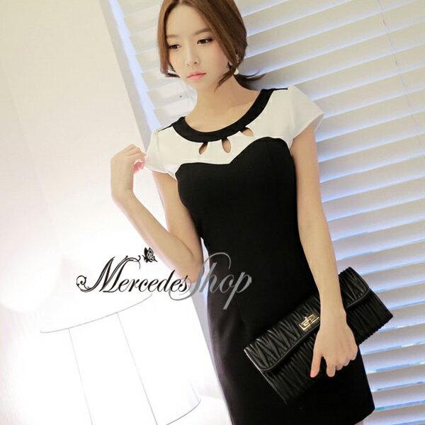[現貨出清6折] 韓國氣質性感黑白拼接短袖洋裝 - 梅西蒂絲