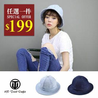 帽子【UTO】韓版牛仔休閒圓頂漁夫帽遮陽帽 (現+預) H01006B