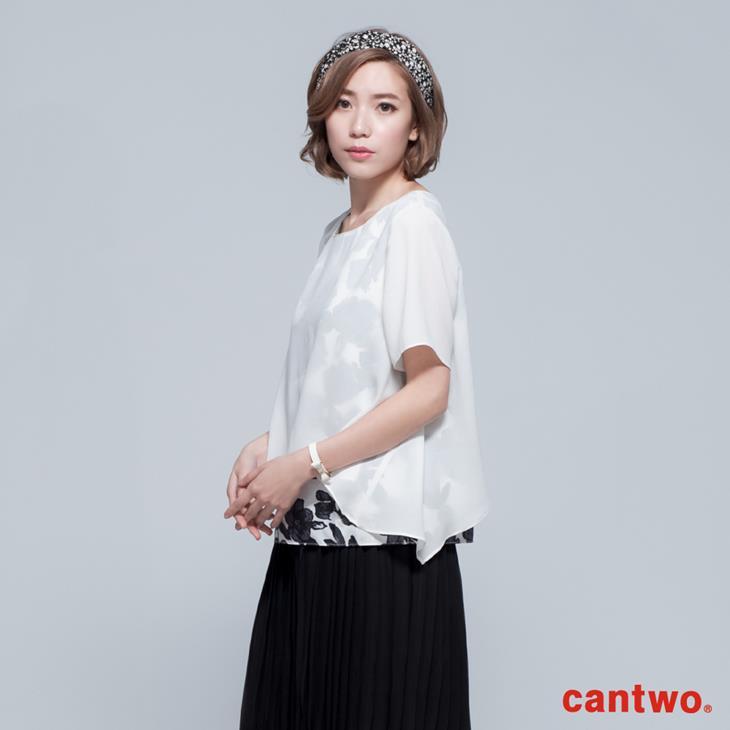 cantwo透視風印花假兩件雪紡上衣(共二色) 1