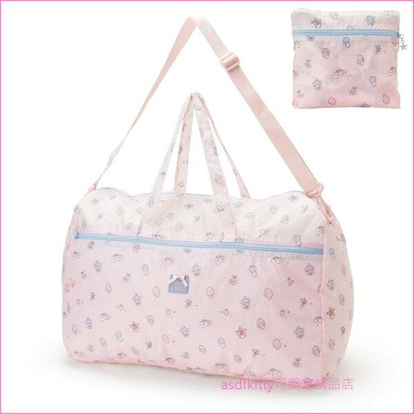 asdfkitty可愛家☆雙子星粉紅色彩虹行李箱拉桿手提袋斜背包可收納購物袋波士頓包-日本正版商品