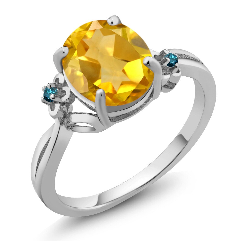2.03 Ct Oval Yellow Citrine Blue Diamond 925 Sterling Silver Ring 0