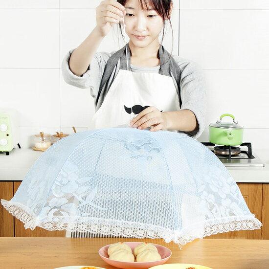 Mycolor:♚MYCOLOR♚蕾絲圓型網紗罩飯菜罩食物野餐摺疊防蠅防蚊菜傘餐桌料理菜網【L15-1】