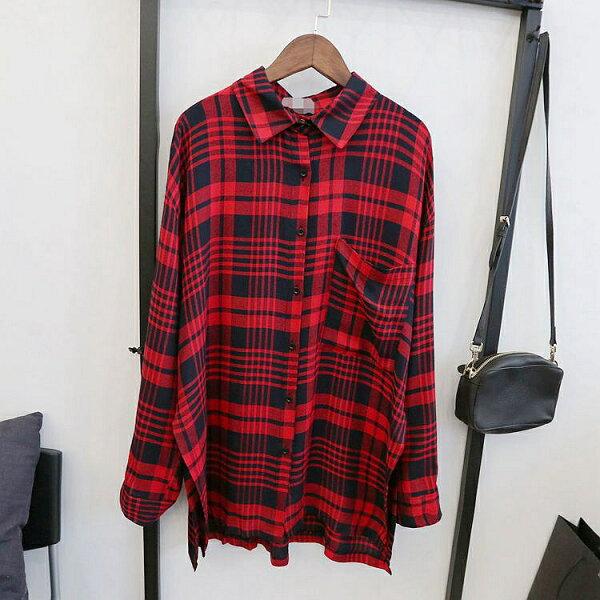 レトロ懷舊-衫 2015秋裝새로운格子시퐁셔츠襯衫(兩色入)十天預購+現貨