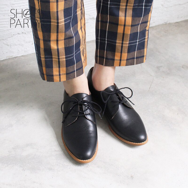 【C2-18715L 】經典真皮綁帶德比鞋_Shoes Party 1
