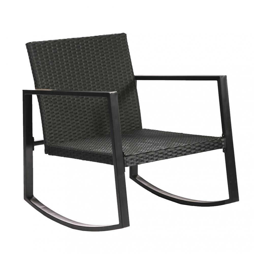 3Pc Outdoor Rocking Wicker Bistro Set 5