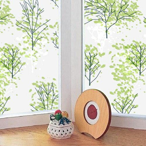 【零碼 92x70公分】日本MEIWA抗UV節能靜電窗貼 (情懷森林)