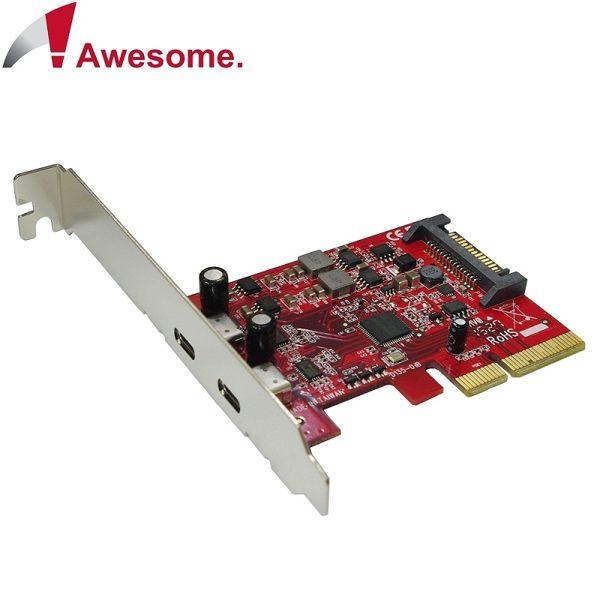 ★原廠公司貨附發票★ Awesome PCIe x4 2埠TypeC USB 3.1 10Gbps擴充卡 AWD-UB-135