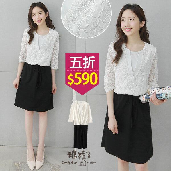 ★原價1180五折590★糖罐子拼接蕾絲抽繩假兩件洋裝→白預購【E49033】