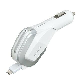 【禾宜精品】手機車充 SEIWA D430 車用充電器自動捲線 mini USB車充 2.4A 白