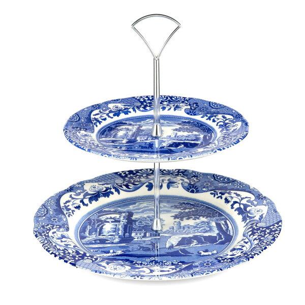 英國SPODE義大利藍雙層盤下午茶雙層碟