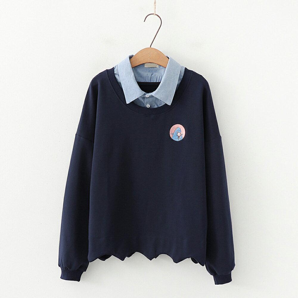 學院風刺繡拼色連帽毛圈棉質假兩件衛衣(3色F碼)【OREAD】 0