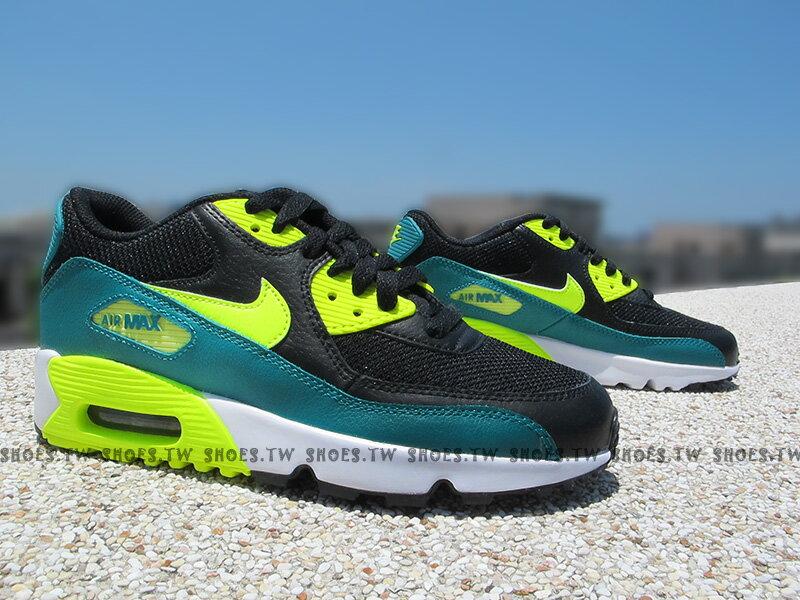 Shoestw【833418-004】NIKE AIR MAX 90 MESH (GS) 黑綠 氣墊 大童鞋 女生
