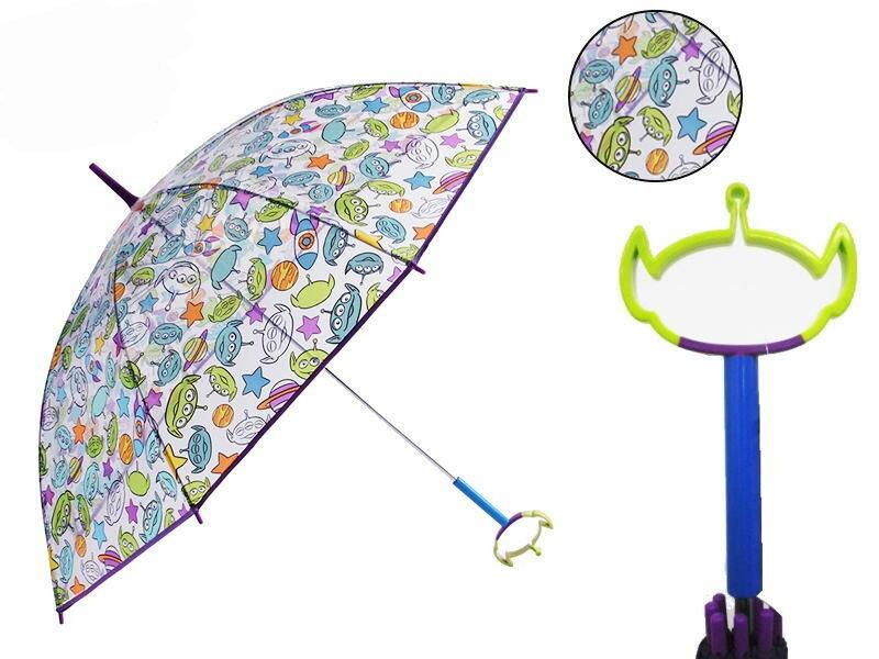 【真愛日本】16080400033造型頭直傘60cm-三眼怪滿版透明紫    迪士尼 玩具總動員 TOY 雨傘 透明傘 卡通傘 雨具