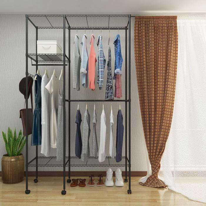 Wire Shelving Garment Rack Closet Hanger Organizer with Wheels 1