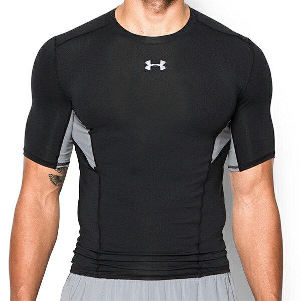 《UA出清一件$990》Shoestw【1271334-001】UNDER ARMOUR UA服飾 緊身衣 短袖 運動束衣 CoolSwitch 強力伸縮型 排汗透氣 黑灰 男生 0