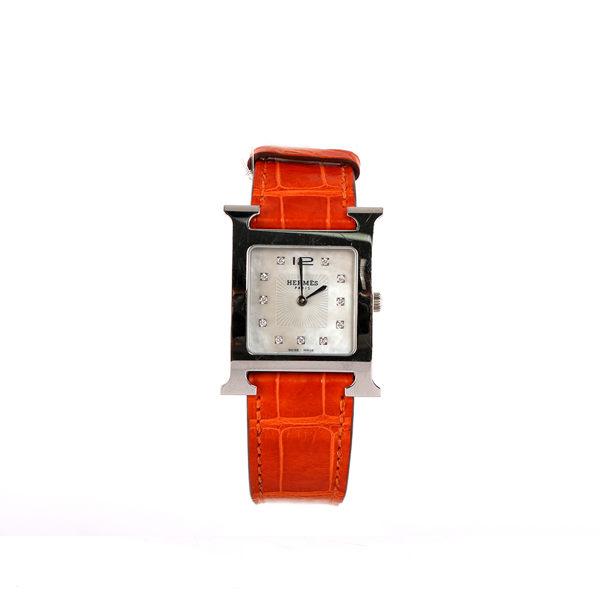 【HERMES】HEURE H MM鱷魚皮石英仕女鑽錶(26mm)(橘色)HE79000006