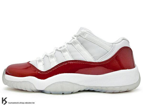2016 台灣未發售 2001 經典配色重新復刻 NIKE AIR JORDAN 11 RETRO LOW BG GS WHITE RED CHERRY 大童鞋 女鞋 低筒 白紅 亮皮 冰底 紅白 AJ XI (528896-102) !