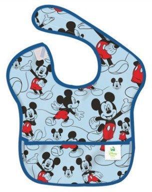 【淘氣寶寶】美國 Bumkins防水兒童圍兜(一般無袖款6個月~2歲適用)-藍米奇 BKS-994534【保證公司貨】