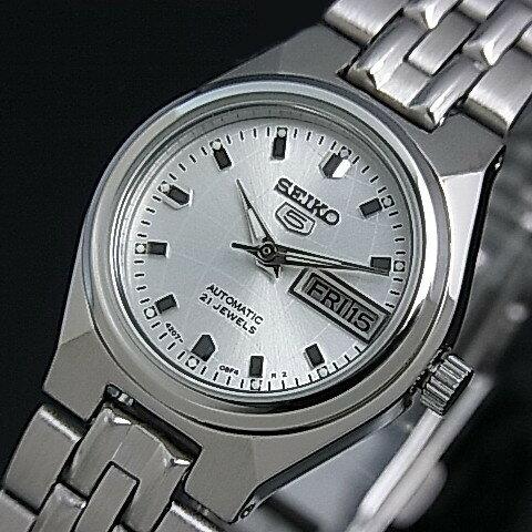 のテーブル精工  自動女式手錶銀金屬鍊錶