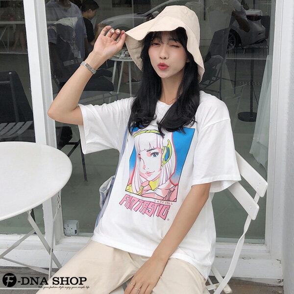 F-DNA★卡通少女印花圓領短袖上衣T恤(白-M-2XL)【ET12709】 2