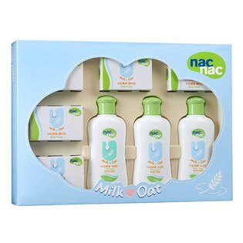 奇買親子購物網:【奇買親子購物網】寶貝可愛NacNac牛奶燕麥護膚禮盒八件組附提袋