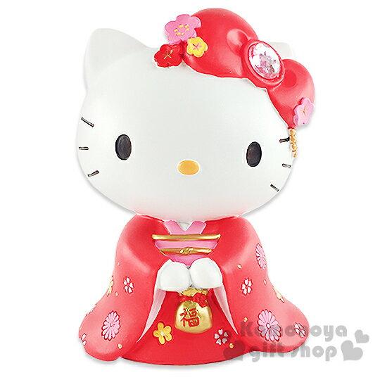 〔小禮堂〕Hello Kitty 陶瓷造型存錢筒《紅.站姿.和服.櫻花》還可當擺飾