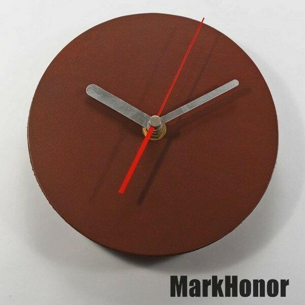 徽耀國際 Mark Honor:簡約風格-圓型100%真皮皮革桌鐘靜音時鐘咖啡14.5公分-MarkHonor