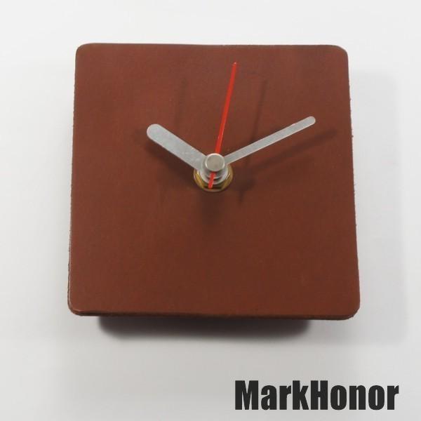 簡約風格-方型 100%真皮皮革 桌鐘 靜音 時鐘 咖啡 10公分-Mark Honor