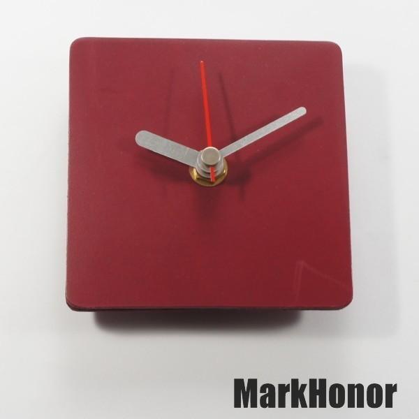 簡約風格-方型 100%真皮皮革 桌鐘 靜音 時鐘 酒紅 10公分-Mark Honor