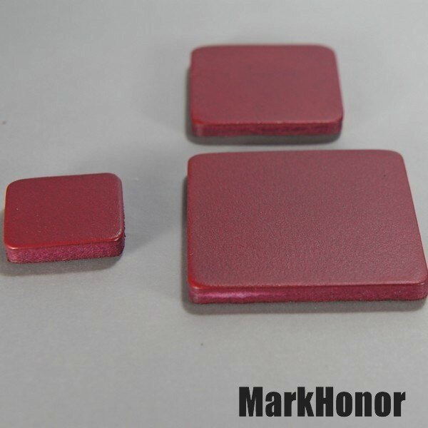 磁鐵 真皮皮革 酒紅 方邊長2公分-Mark Honor
