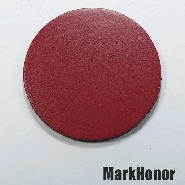 皮革牛皮皮製真皮杯墊皮杯墊(酒紅)圓直徑7.5公分-Mark Honor