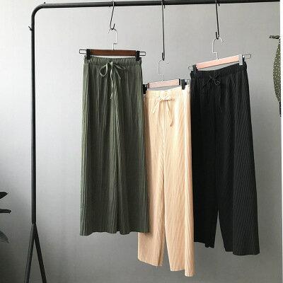 韓系日系女裝大碼休閒高腰闊腿百褶九分寬褲樂天時尚館。預購。[全店免運]