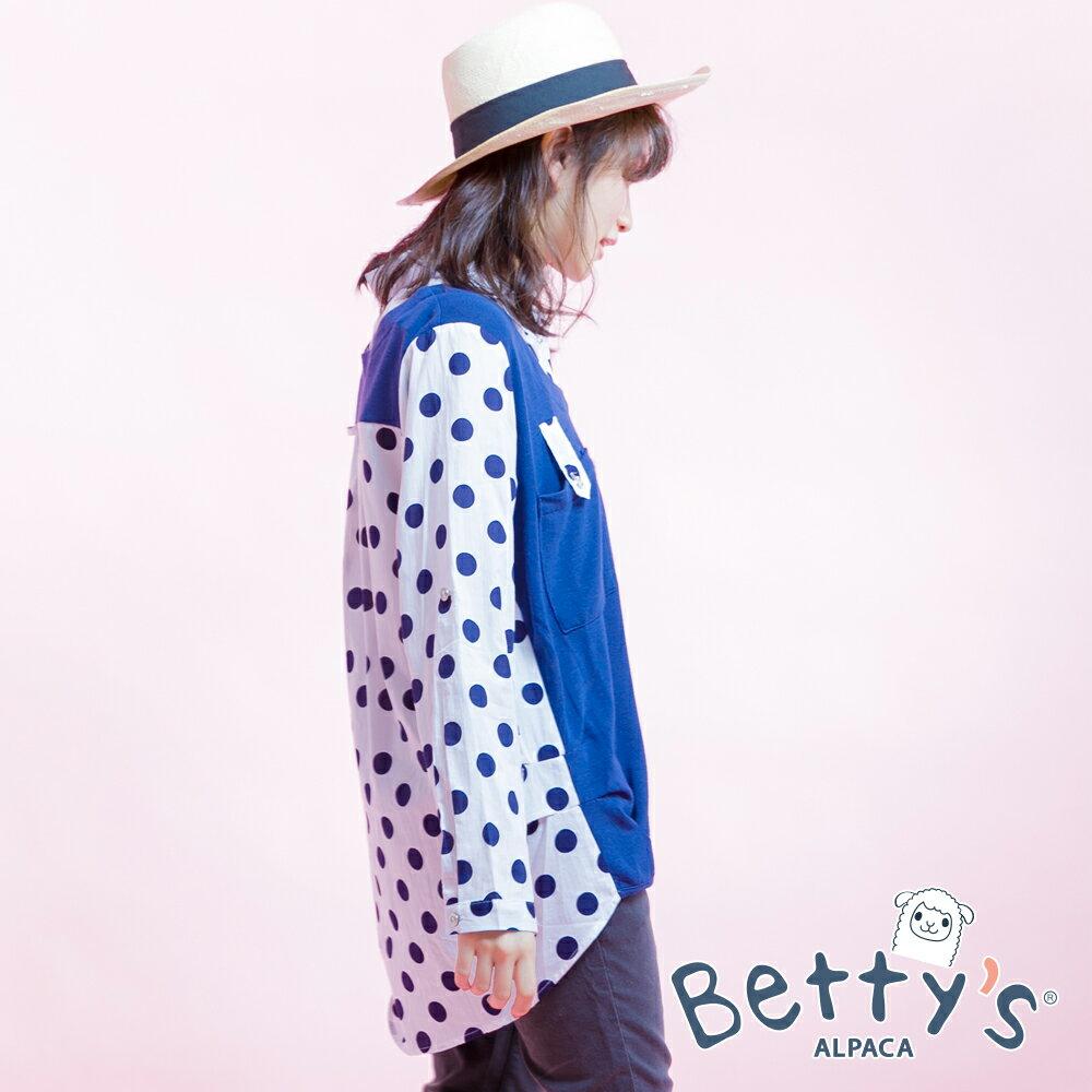 betty's貝蒂思Outlet 波卡圓點拼接針織長袖襯衫(海藍色) ►夏日Fun價   指定款任2件85折