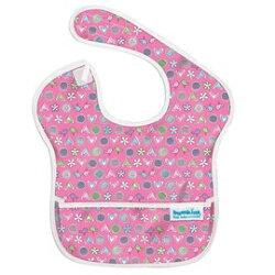 【淘氣寶寶】【美國Bumkins】防水兒童圍兜 (一般無袖款6個月~2歲適用)-愛心小鳥 BKS-740【保證公司貨】