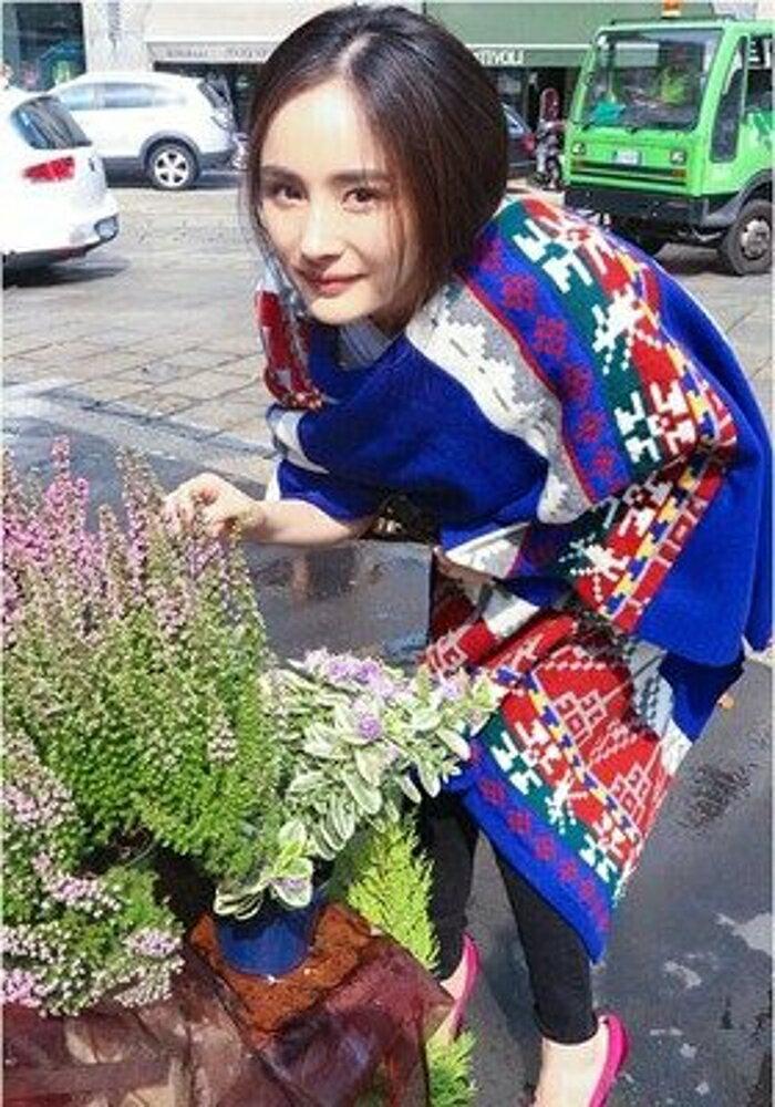 ✤宜家✤波西米亞幾何彩拼針織毛線長款圍巾 超大披肩