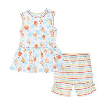 【好優Hoyo】美國Under The Nile 有機棉背心裙+卡布里7分褲套裝(熱氣球/粉彩條紋) 9-12個月