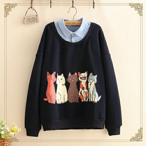 日系森女貓咪印花加絨假兩件衛衣(2色F碼)【OREAD】 0
