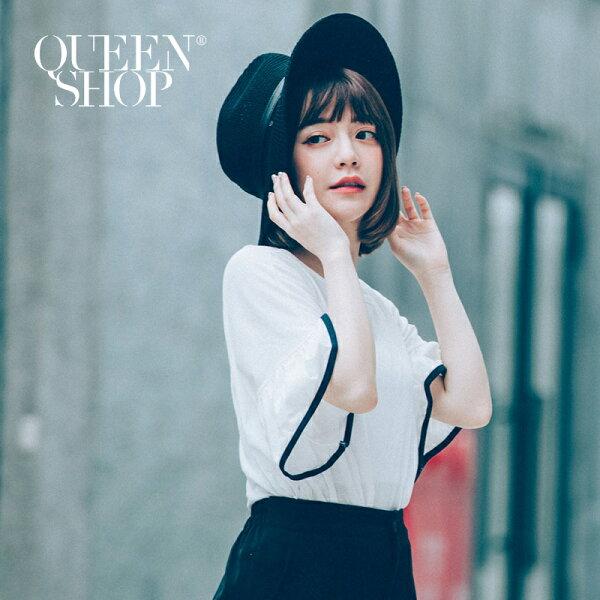 QueenShop【01095807】荷葉袖配色滾邊素面上衣兩色售*預購*