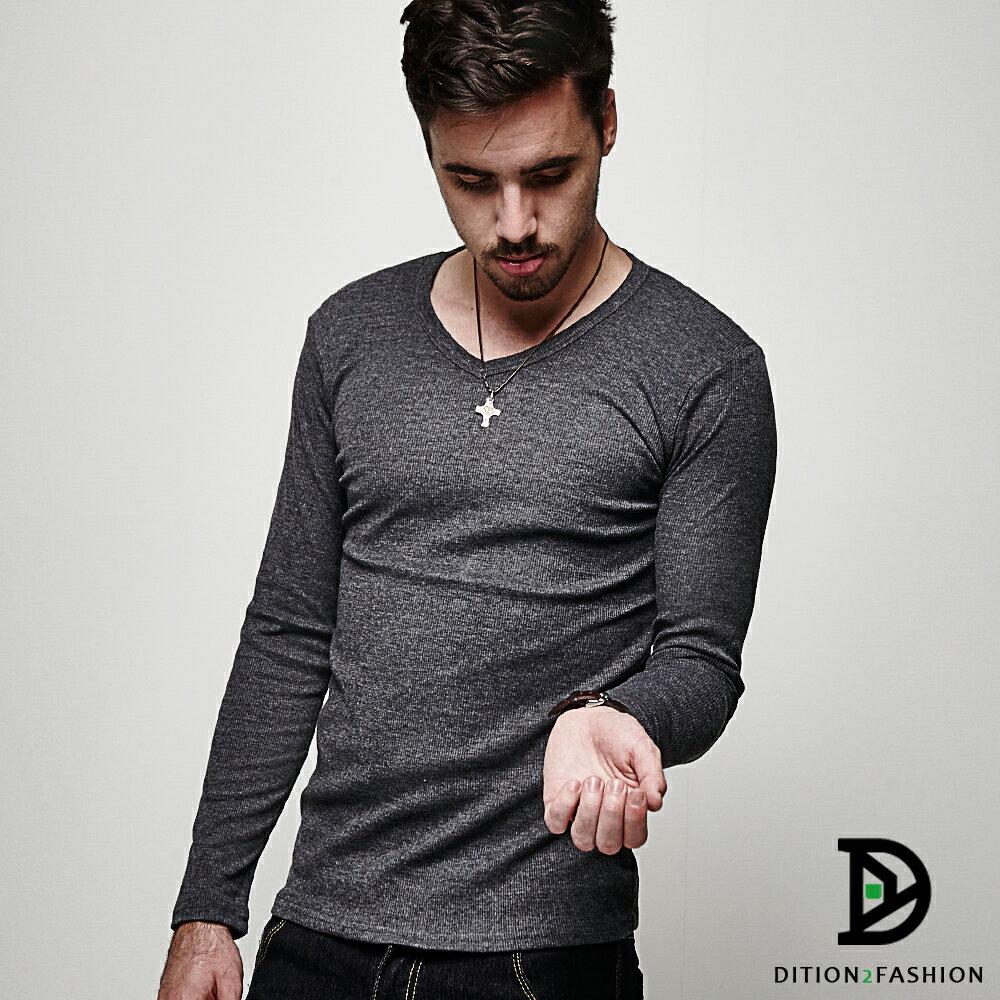 DITION SHOP 韓系螺紋V領保暖貼身長T 發熱衣 手感棉料 0