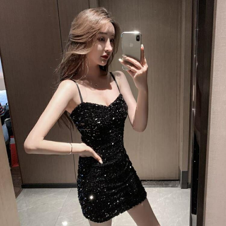 性感裙子女士2021年春秋新款夏氣質亮片吊帶裙包臀緊身黑色洋裝 摩可美家