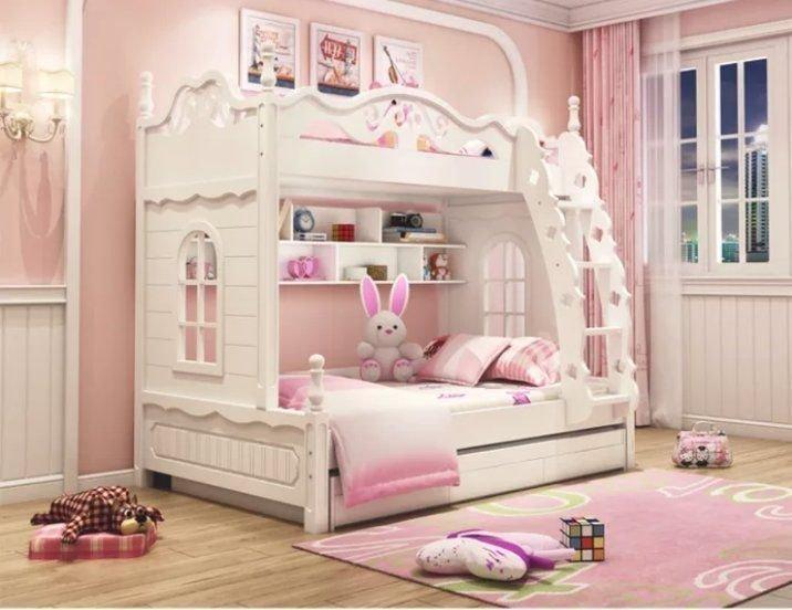 綠巨人家具網*韩式高低床雙層床兒童床女孩公主床實木子母床上下床多功能组合床