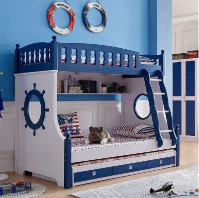 綠巨人家具網*地中海兒童上下鋪雙層床带護欄公主床高低子母床女男孩兩層床梯櫃