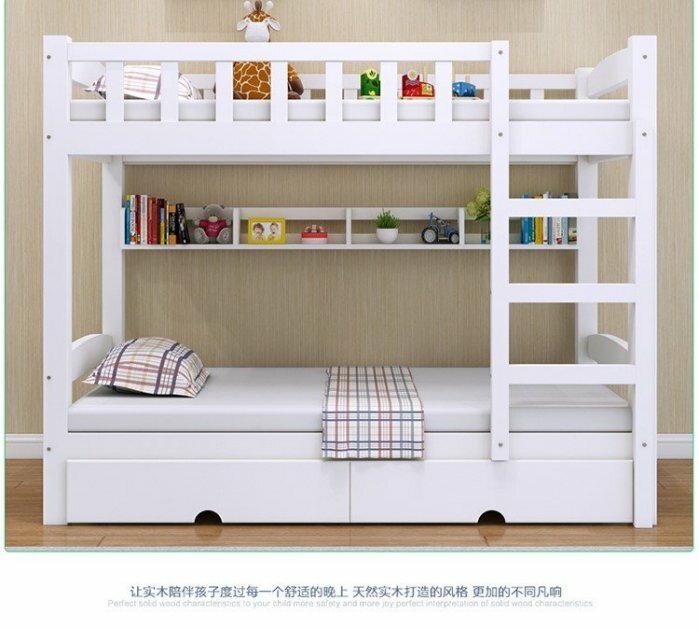 綠巨人家具網*實木白色兒童床松木1.5米上下鋪高低床子母床雙層床上下床成人床宿舍床,樂天雙11