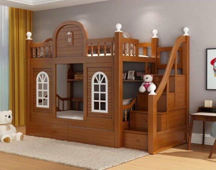 綠巨人家具網*全實木城堡上下床高低床中式雙層床多功能成人子母床上下舖